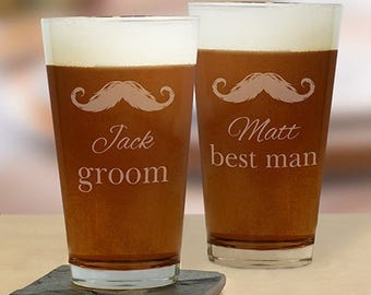 Mustache Engraved Groomsmen Beer Glass 16 oz - Mustache Groom's Beer Glass - Personalized Groomsmen Gifts - Father of the Bride Glass