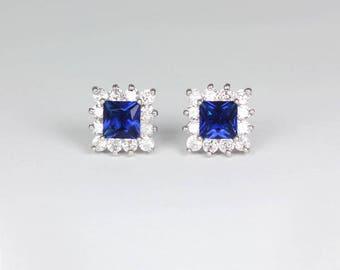 Blue Sapphire Earrings 14K White Gold-Filled / Sapphire Earrings Studs / Sapphire Jewelry