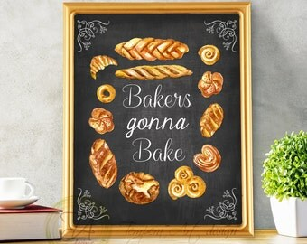 Bakery, Bakery Sign, Bakery Print, Kitchen Chalkboard, Bakery Art, Kitchen Illustration, Bakery Poster, Bakery Decor, Bakery Chalkboard
