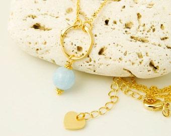 Aquamarine Necklace Delicate Gemstone Necklace Gold Circle Pendant Necklace Pale Blue Stone Necklace Aquamarine Jewelry Open Circle Necklace