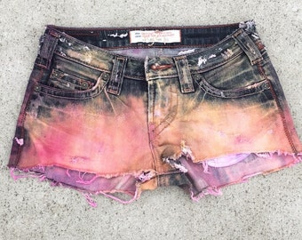 Cali Couture Distressed and Destroyed, Hand dyed denim shorts