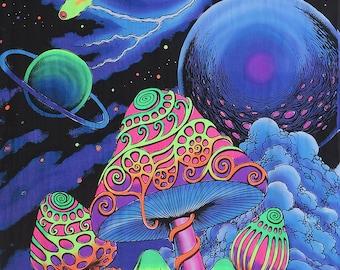 Psychedelic batik wall-hanging Tapestry, 'Cosmic Shrooms'. Hand-painted, silkscreen, UV active, trippy, mushrooms, art decor, UV Deco, Rave