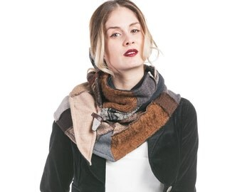 Double ochre and Brown - wool scarf scarf - recycled scarf - winter - scarf Collection Gaia scarf