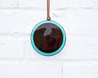 Stained glass suncatcher, blue and red fused glass suncatcher, blue glass suncatcher, glass art, circle light catcher, contemporary art