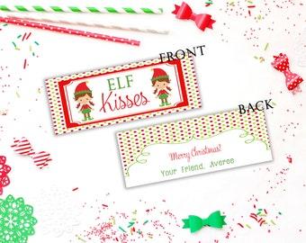 Elf Kisses Tags,  Christmas Treat Tags,  Christmas Bag Topper,  Printable Personalized Christmas Tag,  Christmas Tags,  Girl Elf