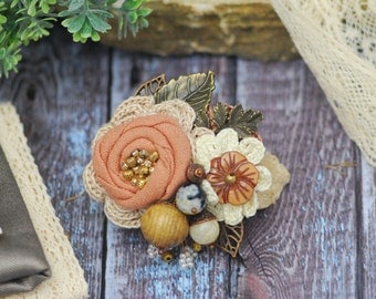 Coral Flower Corsage Pin Textile Brooch Natural Colors Wedding Sash Fabric Flower Friend Gift Gift for Women Gift for Mom Bridesmaid Flower