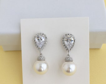 White Pearl and Crystal Bridal Earrings Wedding Cubic Zirconia and Pearl Rhodium Earrings Swarovski Pearl Jewelry Pearl Bridal Earrings