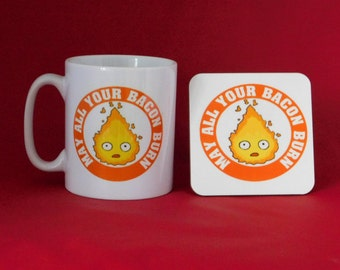 Howl's Moving Castle Calcifer Inspired Tea Coffee Mug 10oz and Coaster Anime
