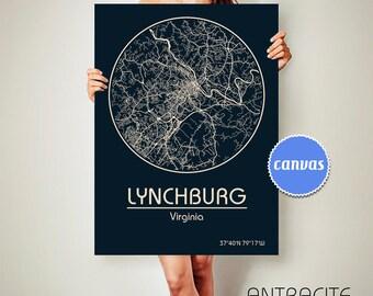 LYNCHBURG Virginia CANVAS Map Lynchburg Virginia Poster City Map Lynchburg Virginia Art Print Lynchburg Virginia ArchTravel