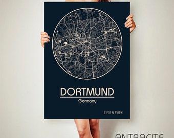 DORTMUND Germany CANVAS Map Dortmund Germany Poster City Map Dortmund Germany Art Print Dortmund  poster Dortmund  map art Dortmund  map