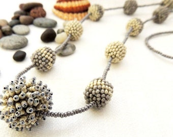 Beaded Ball Necklace - Seed Bead Peyote Stitch Pom Pom Necklace - Beige Grey Color Bead Necklace