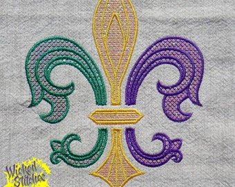 Mylar Applique'  Fleur de Lis Embroidery Design, Set of 2 sizes