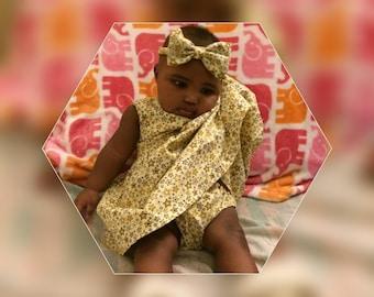 Yellow Baby girl dress set with underpants and handband, Ankara print baby dress, Yellow newborn dress, Baby shower gift
