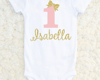 First Birthday Outfit Girl, First Birthday Glitter Bodysuit, Baby Girl, Sparkle Outfit, 1st Birthday Personalized One Piece, Carters Bodysui