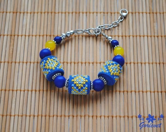 Blue bracelet lapis lazuli jewelry Embroidered bracelet boho chic fabric bracelet blue yellow ethnic jewelry gift for women gifts for wife