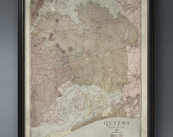 New York Map, Queens, Old Map, Circa 1900s, NYC Map, Map of Queens, ny map, large nyc map, Queens New York Map, Old City Map, Wall Map, Art