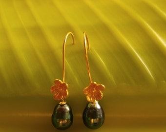 Tahitian Pearl Gold Cherry Blossom Earrings