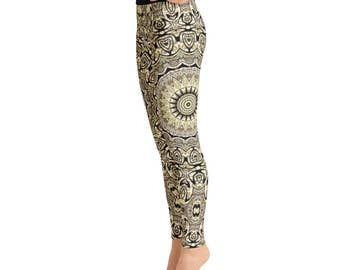 Tribal Yoga Pants for Women - Hippie Leggings, Festival Clothing, Shaman Clothing, Printed Yoga Leggings, Footless Tights
