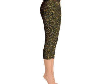 Capris - Amber Yoga Pants, Black Leggings with Yellow Mandala Designs for Women, Printed Leggings, Pattern Yoga Tights