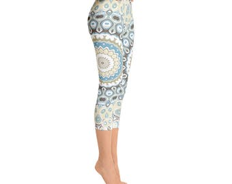 Capris - Boho Yoga Pants, Beach Leggings, Printed Art Tights, Mandala Yoga Pants, Bohemian Leggings