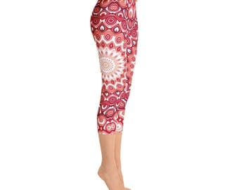 Capris - Red Yoga Pants, Printed Leggings for Women, Mid Rise Waist Yoga Pants