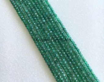 "100% Natural Emerald Beads, Micro Faceted Round Beads, Size 2.20 mm, 13"" Strand. Fine Quality. Price per Strand"
