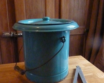 antique chamber pot blue enamelware bucket trash bucket french enamaled
