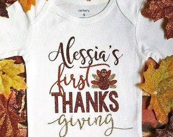 Thanksgiving Outfits || My First Thanksgiving Outfit Girl | baby girl clothes 1st Thanksgiving shirt first Holiday toddler baby girl outfit