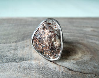 RAW ASTROPHYLLITE Geode Ring / Boho Tribal Ring / Rustic Artisan Ring / Sterling Silver Statement Ring  / Handcrafted / Size 7.5