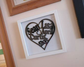 Framed Heart Names (with any names you like)