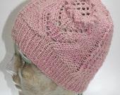 NANO PEARL and ALPACA, Lady's Cap/Beanie, Handknit, From Pink/Grey, Handspun Blended Yarn, Exquisite, Raised Flower Detail, ooak