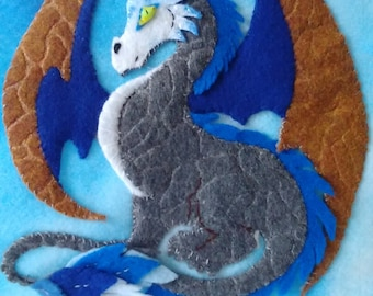 Dragon wall hanging,felted