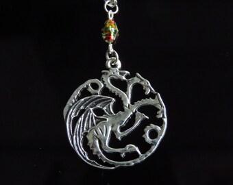 Game of thrones pendant necklace, Targaryen pendant, Daenerys Targaryen jewelry inspired, Drogon Viserion Rhaegal vintage, sigil targaryen