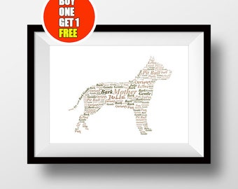 Pitbull artwork,  Pitbull  present, Pitbull  dog, Pitbull  print, Pitbull  word art