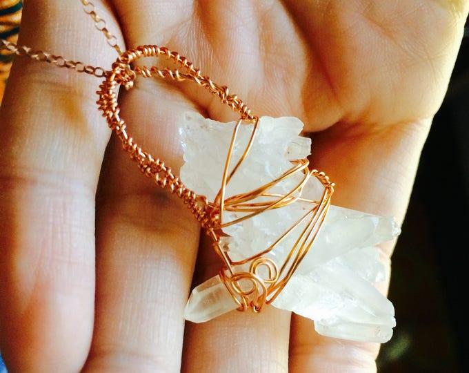 California Quartz Raw Crystal Necklace Pendant