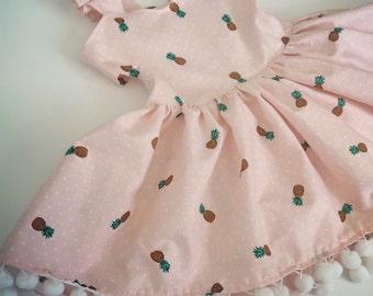 Baby girl toddler first birthday vacation girly light pink pineapple pom pom dress