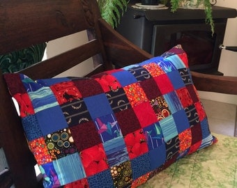 Bohemian patchwork reversible cushion cover