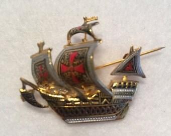 Damascene Ship Brooch