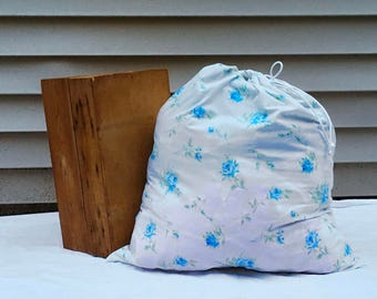 Blue Floral Laundry Bag