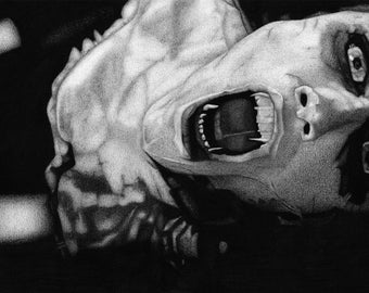 Laurie - Trick r Treat Charcoal Drawing Print