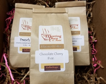 Chocolate Coffee Sampler, Set of 3 Whole Bean or Ground Coffee, Coffee Gift Set, Birthday Gift, Thank You Gift, Coffee Gift, Valentine