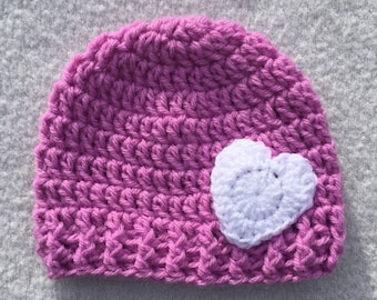 Pink beanie hat with white heart applique - 6-12 months baby  - handmade crochet item