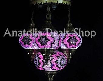 4 Piece Mosaic Lamp Turkish Lamp Ottoman Lighting Chandelier Chandelier Ottoman Lantern Lighting Lamp Lamps Laterns Indoor Lighting SULTAN-4