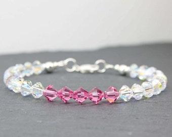 Aurora Borealis Bracelet, Pink Crystal Bracelet, Rainbow Crystal Bracelet, Sterling Silver, Swarovski Crystals, 21st 30th Birthday Gift