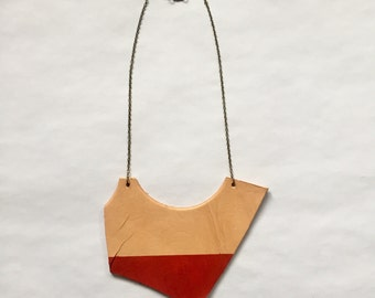 Statement necklace, recycled leather jewelry, leather goods