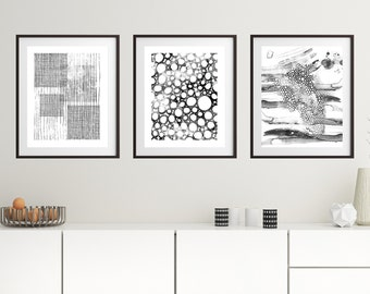 Black White Abstract Art, Printable Art Set, Black White Print Set,black  White