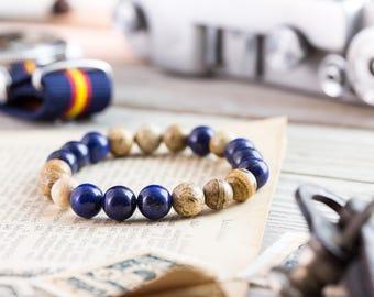 8mm - Blue lapis lazuli & brown jasper stone beaded stretchy bracelet, made to order yoga bracelet, mens bracelet, womens bracelet
