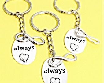 Best friends keychain - set of three, bff charm,3 bff keychain, set of 3 best friend, always infinity, always keychain,couples keychain,gift