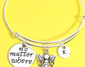 Long distance friendship bracelet, no matter where bracelet, bangle bracelet, personalized, custom, initial, quote,distance friend, bff gift