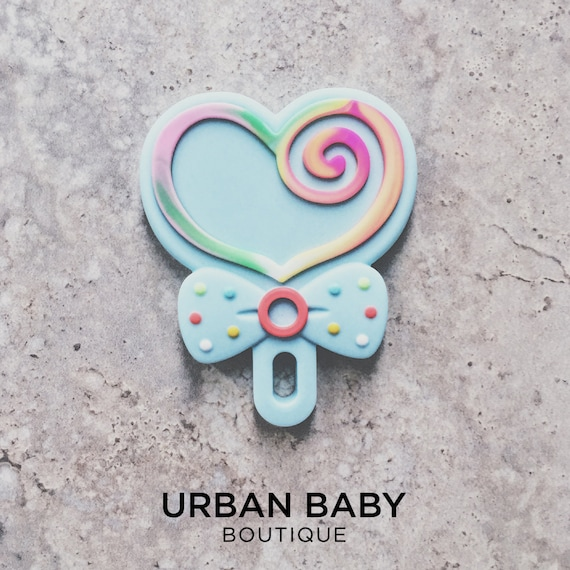 Mint LOLLIPOP Teething Toy with Pacifier Clip - Teething, baby shower, baby gift, teething clip, sensory toy, chewelry, lollipop